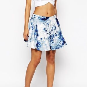 ASOS WYLDR Holly Skater Skirt blurred floral xs